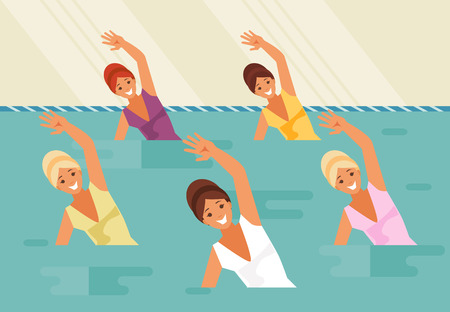 Group of female athletes. Synchronized swimming and water aerobics. Vector illustration