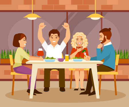 pareja comiendo: Cheerful group of friends sitting in a cafe. Friendship and communication. Vector illustration