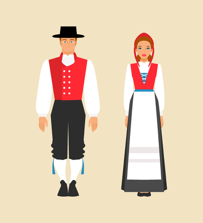 Norwegian man and woman in traditional costumes. Vector illustration