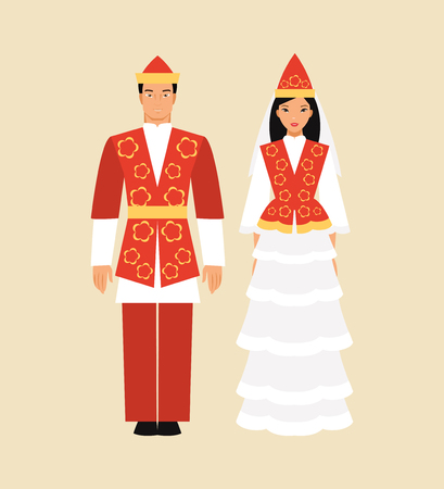 oriental bathrobe: Kyrgyz man and a woman in a traditional costume. Vector illustration Illustration