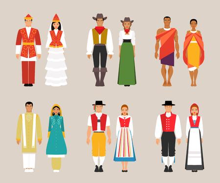 Big set of national costumes Illustration