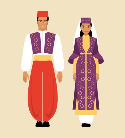 Turkish man and woman in national dress Иллюстрация