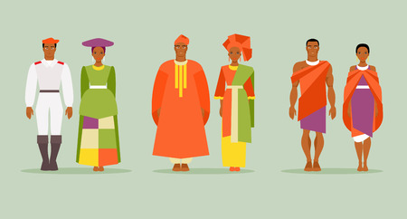 Set of men and women in traditional African costumes