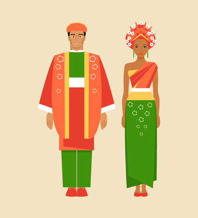 Indonesian man and woman in national costumes. Vector illustration Ilustração