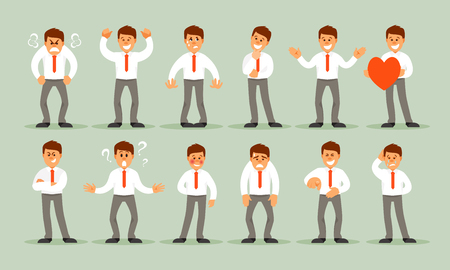 Big set of a businessman with a variety of emotions and poses.