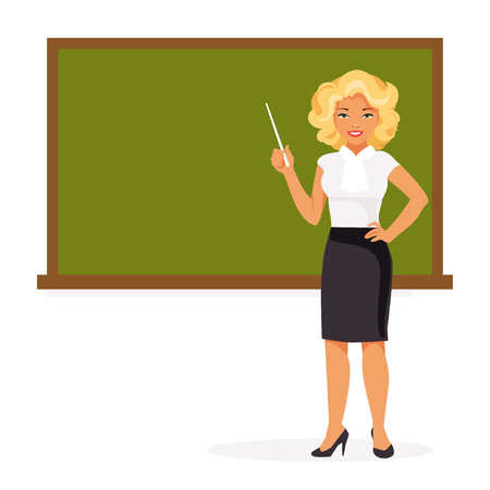 Teacher at the blackboard holding a pointer isolated on white background.