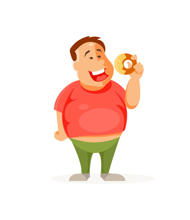 Cartoon fat man with a cake. Bad habits and unhealthy lifestyle, bulimia. Vector illustration
