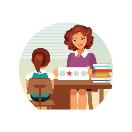 Woman psychologist tests the child. Preparation for school. Teacher speech therapist. Vector illustration