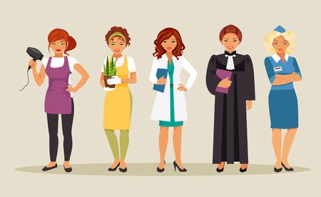 Set of different female occupations. Set of female professionals. Gardener, judge, hairdresser, doctor, stewardess Vector illustration Illustration