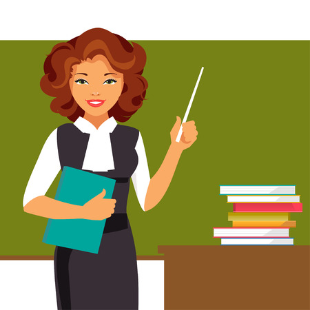 Young teacher with a pointer at the blackboard. Vector illustration
