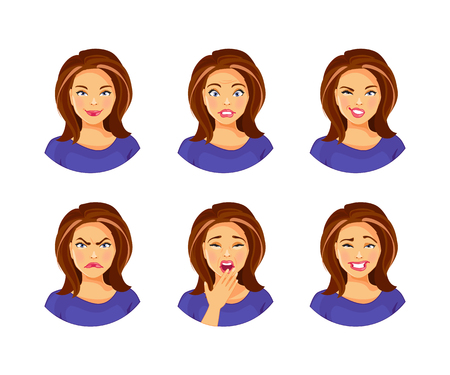 Set of young woman with different facial expressions and emotions vector illustration Vector Illustration