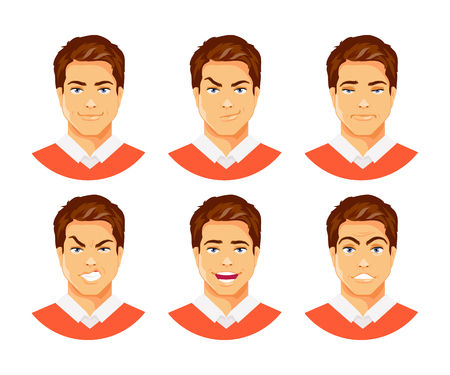 Set of male facial expressions. Different feelings and emotions. Vector humorous illustration