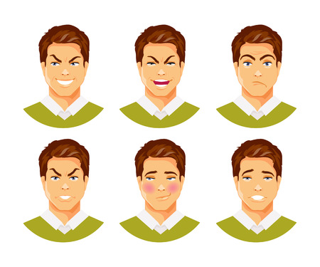 Set of male facial expressions. Different feelings and emotions. Vector humorous illustration, part 2 Illustration