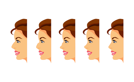 Female face in profile with different types of nose. Vector illustration
