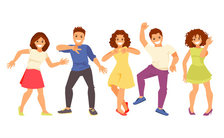 Happy dancing group of people isolated on white background. Humorous vector illustration.