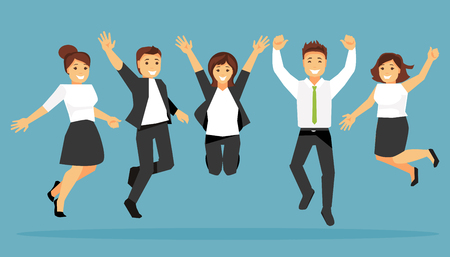 Happy jumping business people. Humorous vector illustration Vector Illustration