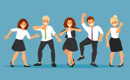 Happy dancing group of business people. Cartoon vector illustration Vettoriali