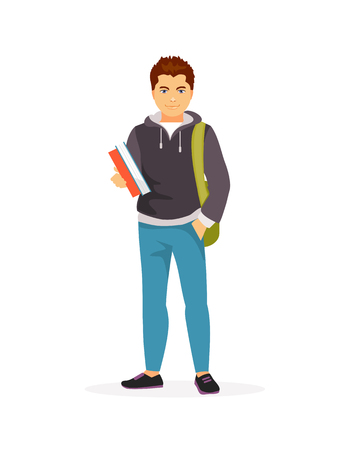 Teenager student with books in hands. Vector illustration.