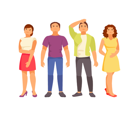 Group of young people looking up. Vector illustration