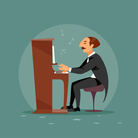 Cartoon pianist performs at a concert. Vector illustration