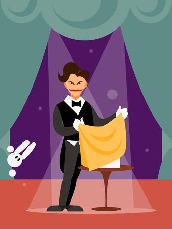 Magician man on magic show vector Illustration