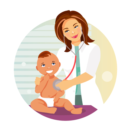 Female pediatrician listens with a stethoscope to the baby. Vector illustration Stock Illustratie