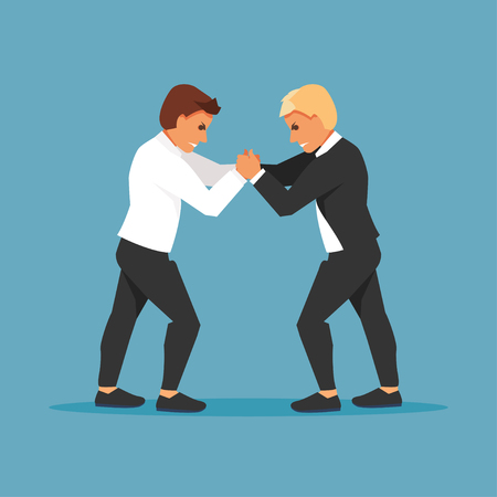 Two fighting businessmen are opponents. Competition and confrontation Vector illustration Çizim