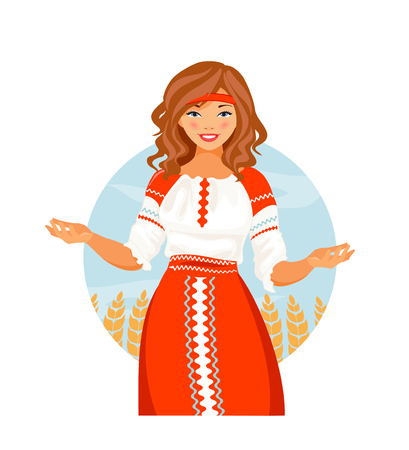 Russian girl in national costume. Welcome to Russia. Vector illustration