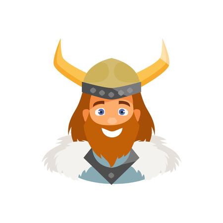 Cartoon Viking character isolated on white background. Vector illustration