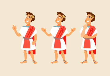 Roman cartoon character with different gestures. Vector illustration