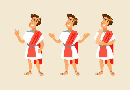 Roman postać z kreskówki z różnymi gestami. Ilustracji wektorowych