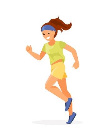 Sporty running girl isolated on white background. Vector illustration