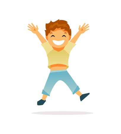 Joyful Bouncing baby boy. Happy childhood. Vector illustration