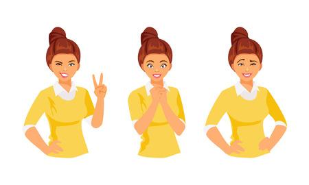 Set of female emotions, part 2. Vector illustration Vetores
