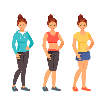 Woman fitness model in sportswear set. Vector illustration
