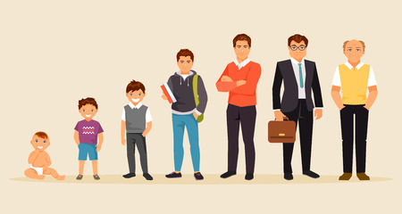 Collection of male age. Development of men from the child to the elderly. Male characters. The aging process. Vector illustration