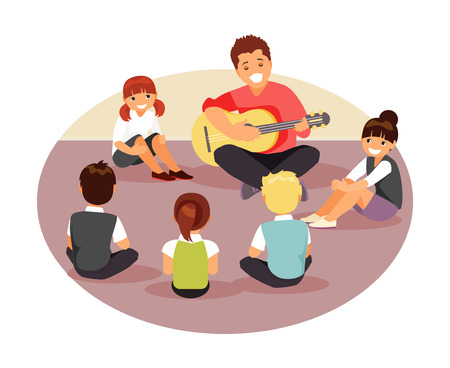 Group of children listen to their music teacher. Vector illustration Çizim