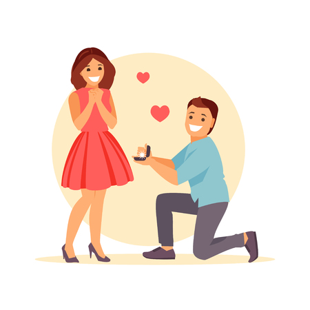 Young man on his knees making a marriage proposal to his girlfriend. Vector illustration
