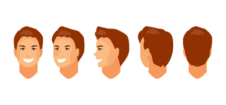 Male head character for animation. Front, side, half-turned, rear view. Vector illustration Illustration