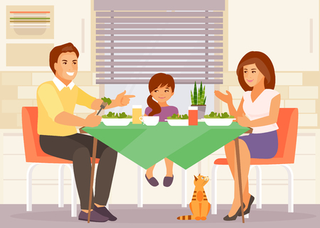Family meal. Mother, father and daughter eat together at the table in the kitchen. Vector illustration