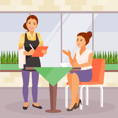 Young woman in the cafe at lunch. The waitress takes the order. Vector illustration