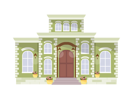 Green mansion isolated on white background. Vector illustration