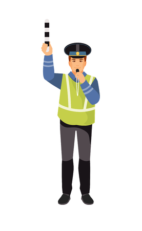 Traffic policeman regulates traffic. Road inspector. Vector illustration Иллюстрация
