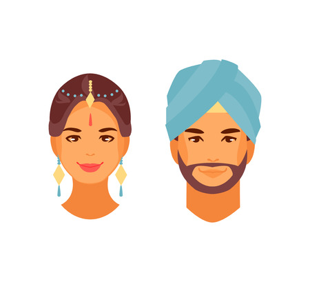 Indian traditional man and woman. Vector illustration Illustration
