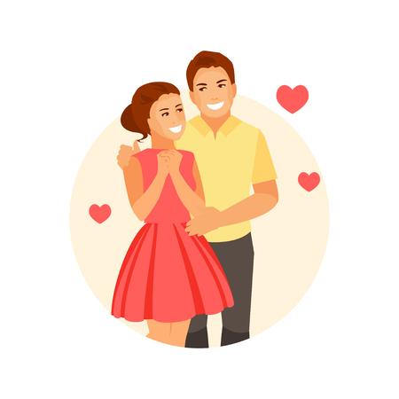 Romantisch liebender Mann und Frau zusammen. Vektorillustration