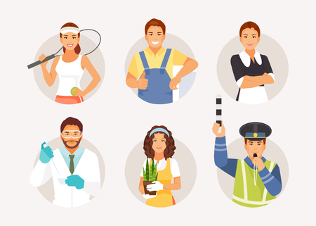 Collection of men and women of various professions. Vector illustration
