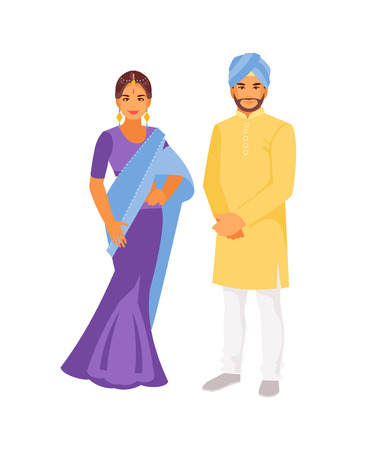 Indian man and woman in traditional clothes. Vector illustration