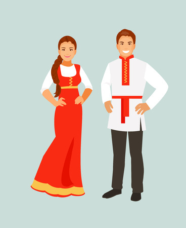 Russian man and woman in traditional clothes. Vector illustration Illustration