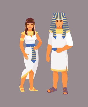 Egyptian man and woman in traditional clothes. Vector illustration