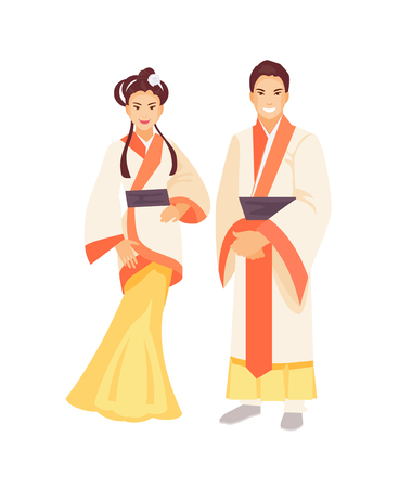 Chinese man and woman in traditional clothes. Vector illustration Çizim